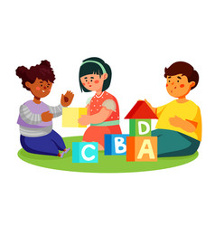 Children playing with toy blocks - colorful flat vector