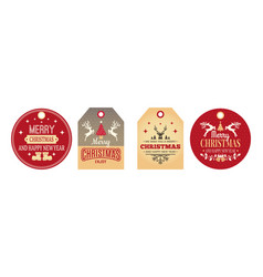 christmas tags festive labels holiday badges for vector image