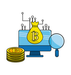 computer with digital circuits elements to bitcoin vector image