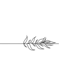 Continuous line drawing plant with leaves vector