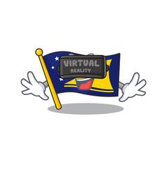 Cool flag tokelau scroll character using virtual vector