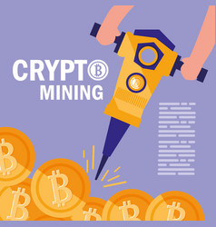 Crypto mining bitcoin icons vector