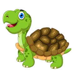 Cut cartoon turtle posing vector