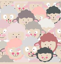 Cute cartoon funny lamb head seamless pattern vector