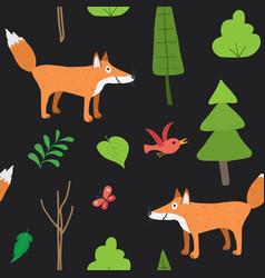 cute fox seamless pattern cartoon animals in vector image