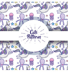 cute patterns with doodles cartoons background vector image