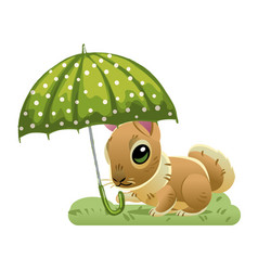 cute rabbit under a green umbrella on the grass vector image