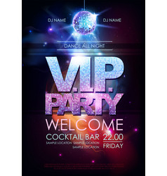 disco ball background disco vip party poster on vector image