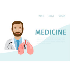 Doctor therapist and human lungs cartoon vector