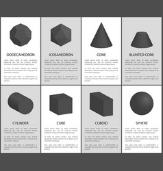 Dodecahedron and icosahedron black prisms set vector