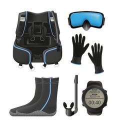 Equipment for diving scuba gear and accessories vector