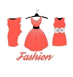 Fashionable red dress vector
