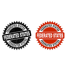 Federated states black rosette stamp seal with vector