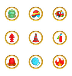 Firefighters icon set cartoon style vector