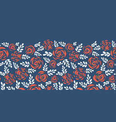 Floral border red roses on blue seamless vector