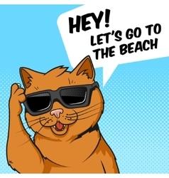 Ginger cat in sunglasses vector