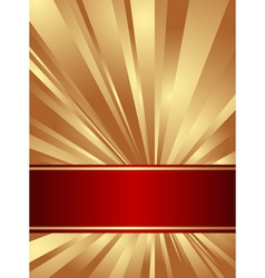 Gold and red background with rays vector