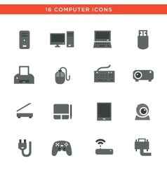 Gray computers device icons vector