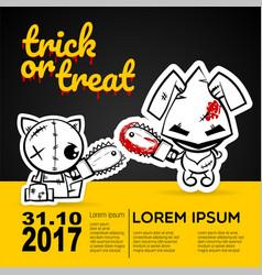 Halloween evil cat bunny voodoo doll pop art vector