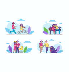 happy couple woman and man family life in love vector image