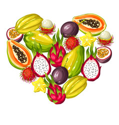 Heart shape with exotic tropical fruits vector
