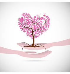 Heart Shaped Abstract Pink Tree in Human Hands vector image