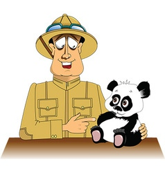 Hunter and panda cartoon vector