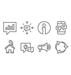 idea lamp sms and megaphone icons analytical vector image