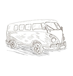 Isolated outline of a van vector image