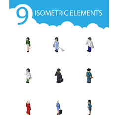 isometric people set of female male officer and vector image