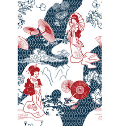 japanese traditional oruental backdrop pattern vector image