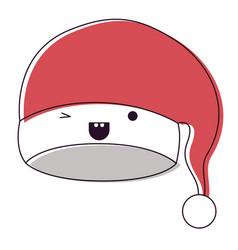 kawaii christmas hat santa claus wink eye vector image