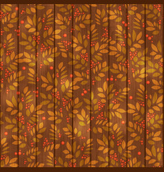 leaves endless pattern with leaf and berry on vector image