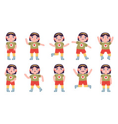 little girl expression happy and angry little vector image