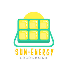 Logo design with solar battery for producing eco vector