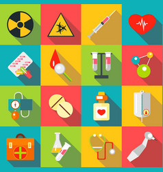 medical items icons set flat style vector image