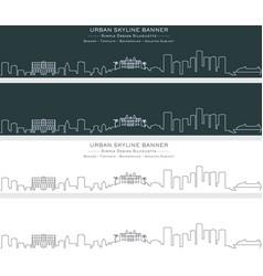 monaco single line skyline banner vector image