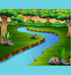 nature scene of river in the forest vector image