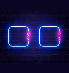 Neon quiz banner set glowing question and vector