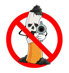 no smoking stop cigarette prohibition sign vector image