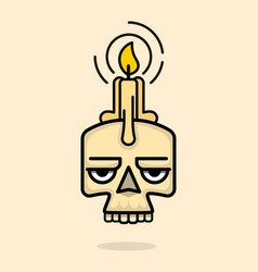 old skull with wax candle on head vector image