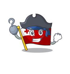 One hand pirate flag tonga scroll cartoon style vector