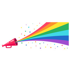 Pink megaphone with rainbow vector