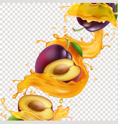 plum fruit in splashing yellow juice vector image