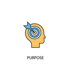 purpose concept 2 colored line icon simple yellow vector image