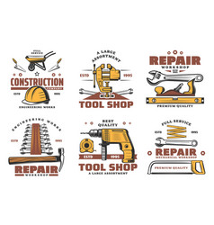 Repair and construction work tools sketch vector