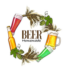 round frame of beer bottle mug glass malt and vector image