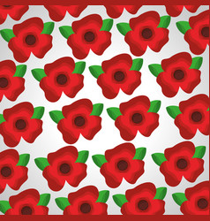 seamless pattern red flowers leaves decoration vector image