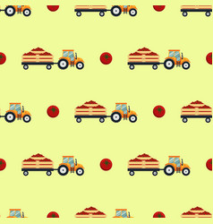 Seamless pattern with flat yellow tractor with a vector