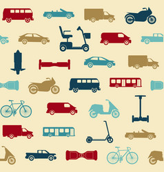 seamless pattern with transport icons vector image